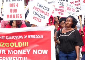 Menzgold customers during a demonstration