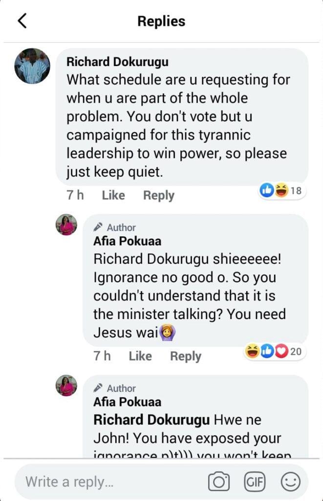 """Hwe ne John, you have exposed your ignorance""; Afia Pokuah goes wild on social media. 55"