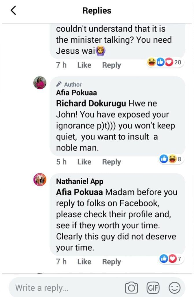 """Hwe ne John, you have exposed your ignorance""; Afia Pokuah goes wild on social media. 57"