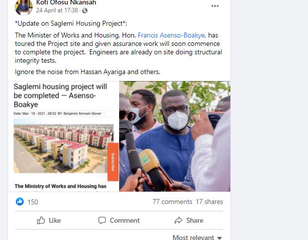 Saglemi housing project is on course, ignore all propaganda – Accra Digital Centre MD. 49