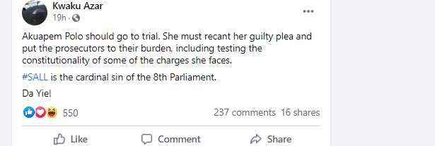 Akuapem Poloo ought to change her guilty plea – Kwaku Azar. 4