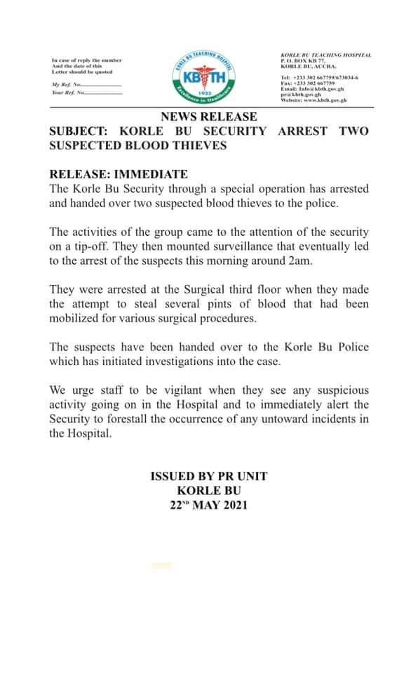 2 arrested at Korle Bu for allegedly stealing blood. 49