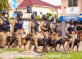 Some police personnel of K-9 Unit with their highly trained dogs [Credit- Ghana Police Service]